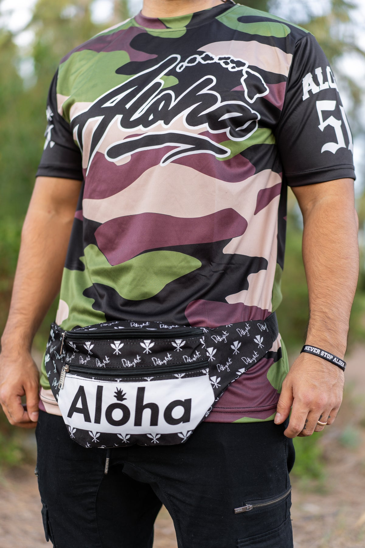 Aloha Slapped Black/White Fanny Pack