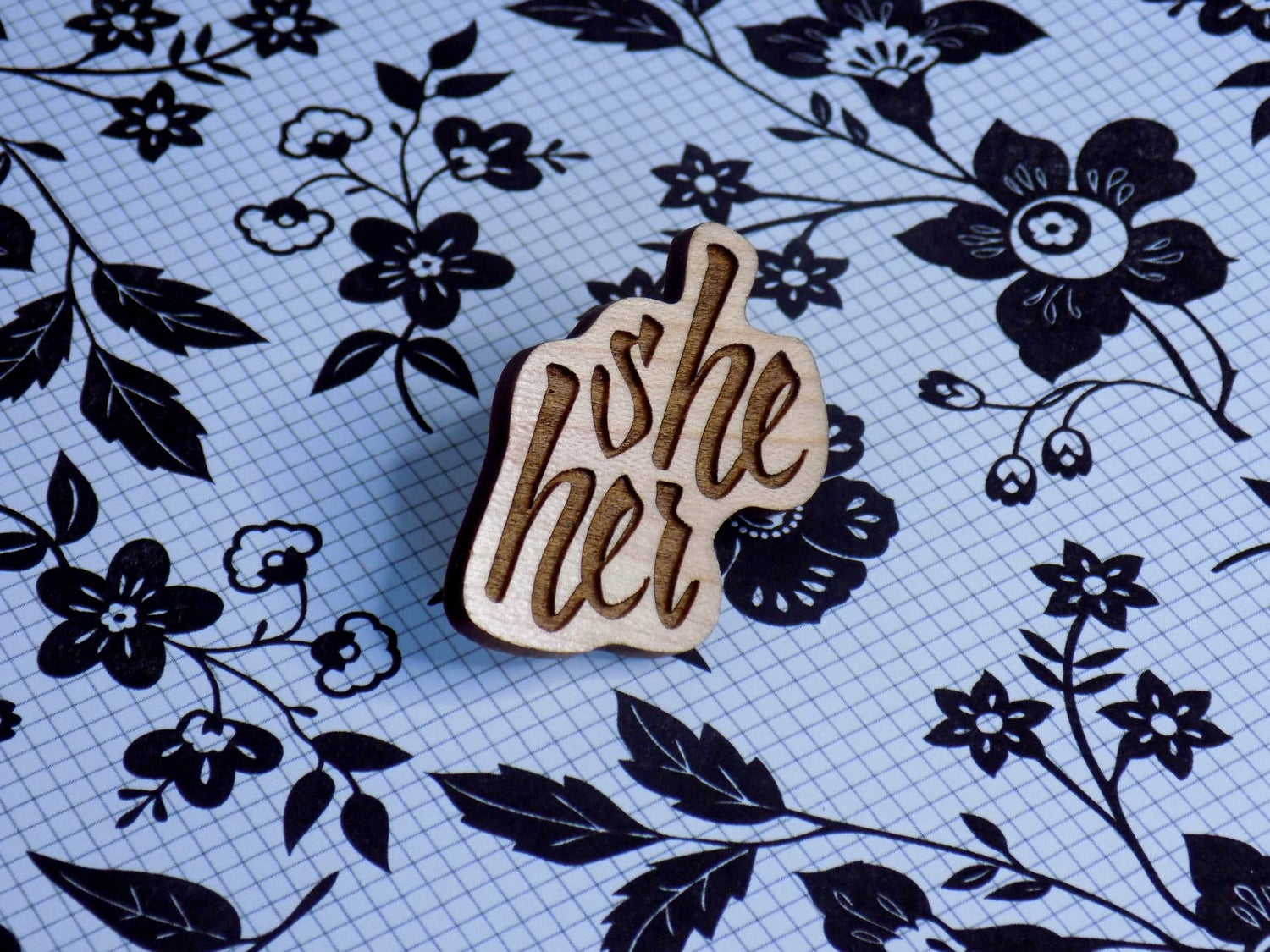 Maple Hardwood Pronoun Pin - She/Her