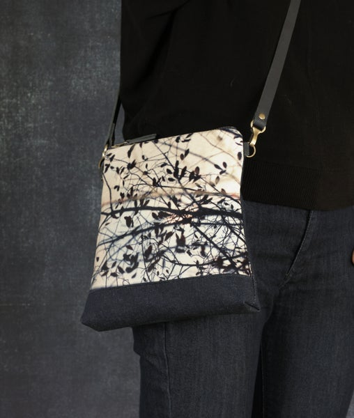 Image of Velvet shoulder bag with cross-body leather strap, leaf silhouette