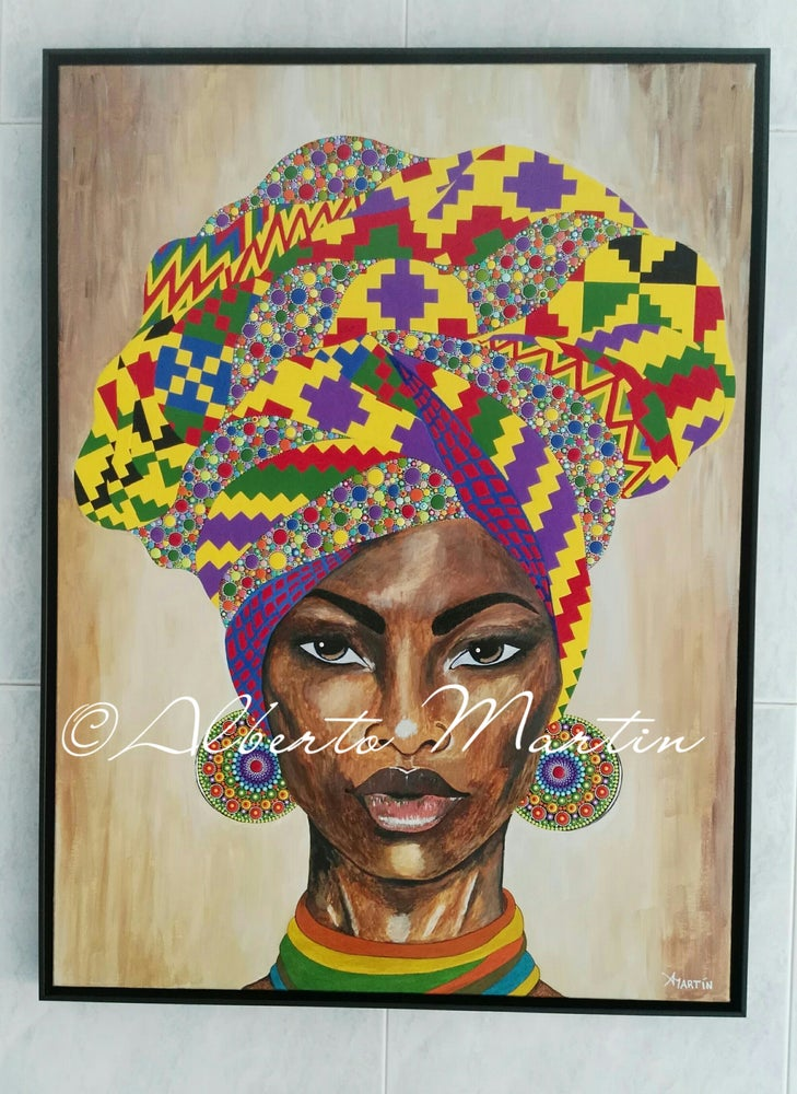 "Image of ""ADIMU"", original artwork acrylic painting dotart canvas by Mandalaole Alberto Martin."
