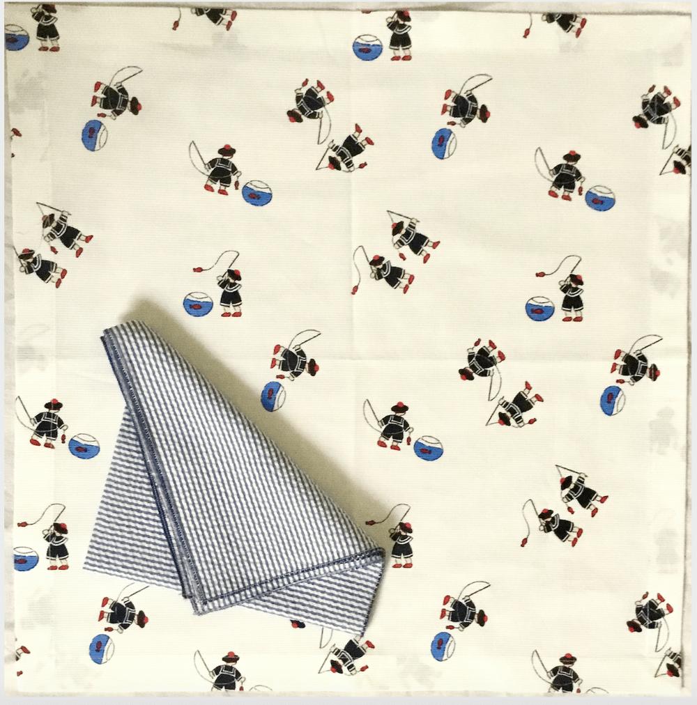 Image of Set tovaglietta+tovagliolo per bambini Marinière/ Marinière placemat+napkin kids set