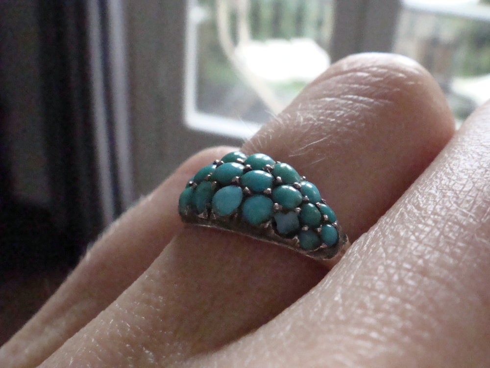 Image of Victorian silver natural turquoise bombe ring