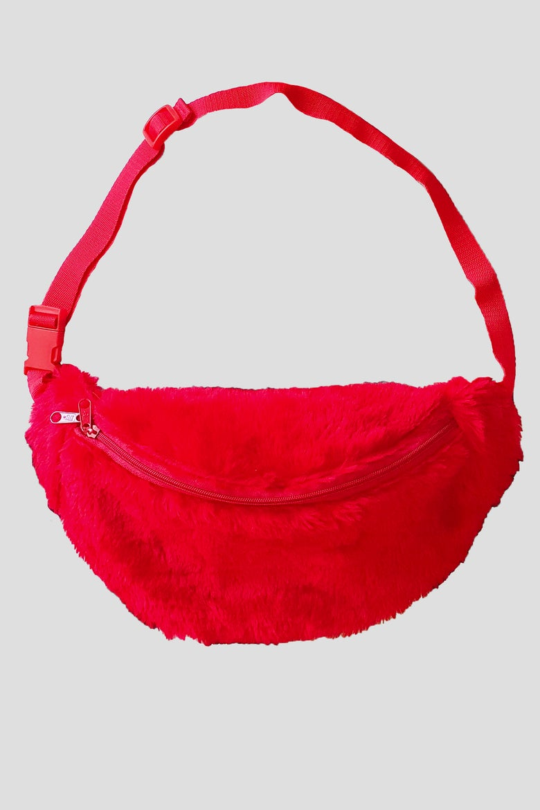 Image of red fluffy fanny pack