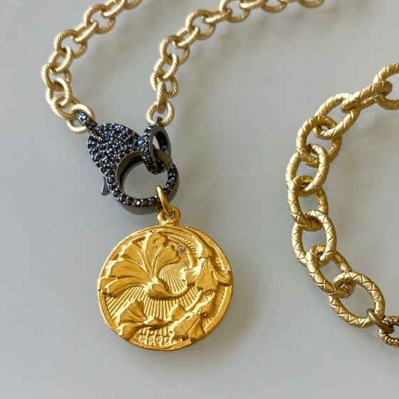 Image of Gold Flower Coin Necklace