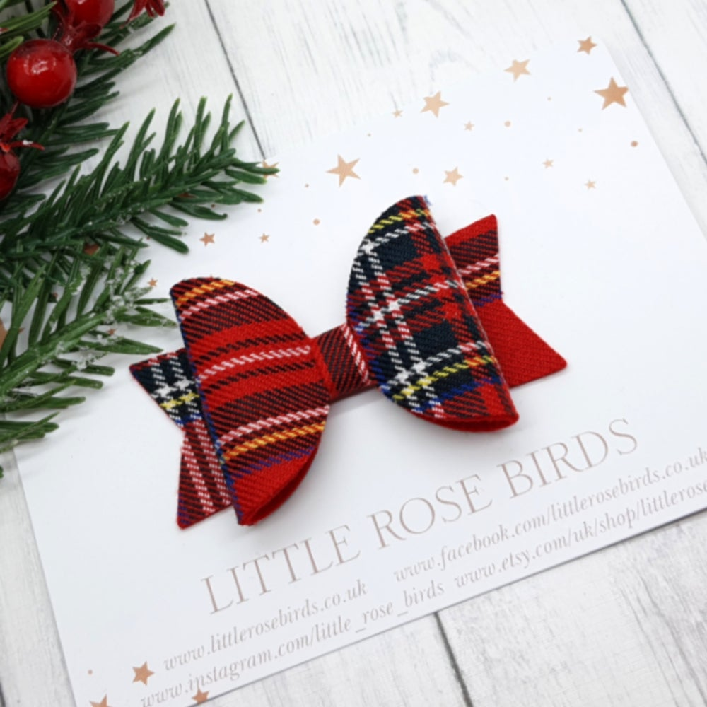 Image of Red Tartan Bow - Choice of Headband or Clip
