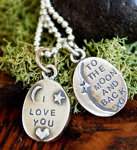"Image of ""I love you to the Moon and back"" Sterling 2 sided Pendant"