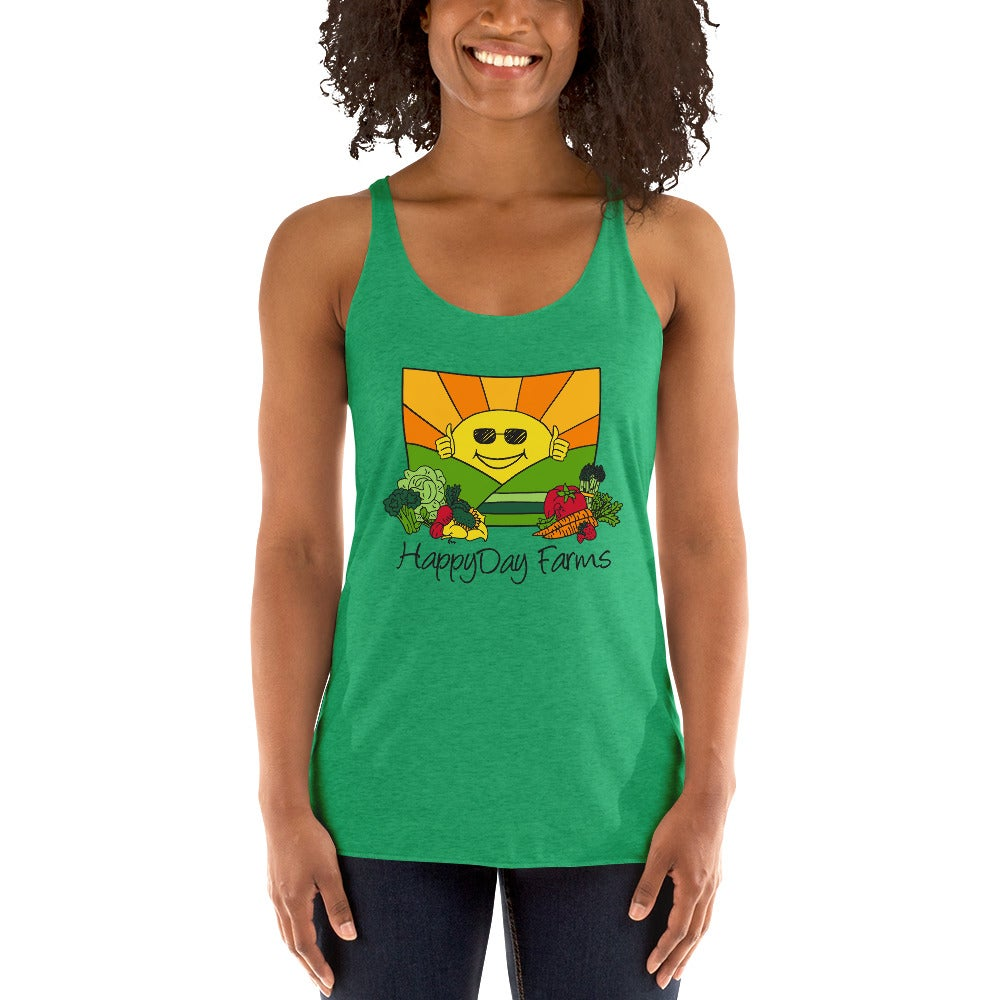 Image of Happy Day Farms Women's Racerback Tank Green
