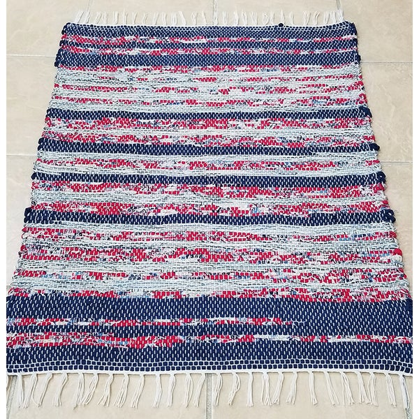Image of Blue Red & White Rag Rug