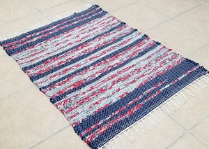 Image of Blue Red & White Rag Rug