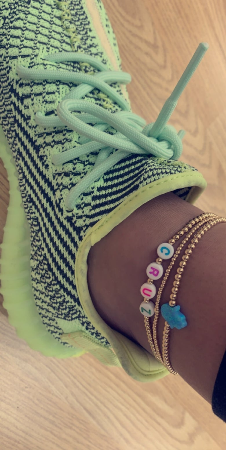 Image of Custom Beaded highlighter Anklet (add name in sellers notes at checkout)