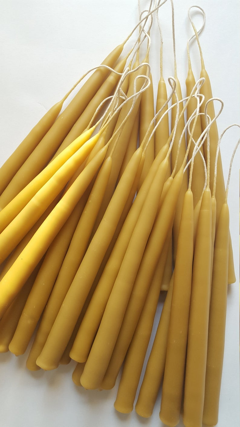 Image of handmade  beeswax tapers