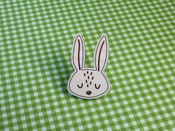 Image of Maple Hardwood Rabbit Pin / Magnet