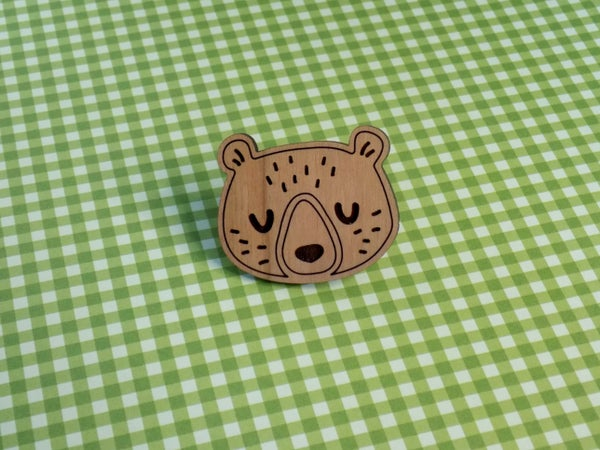 Image of Cherry Hardwood Bear Pin / Magnet