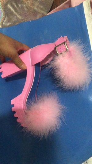 """Image of """"It's Like Candy""""  Fur Chunky Sandal"""