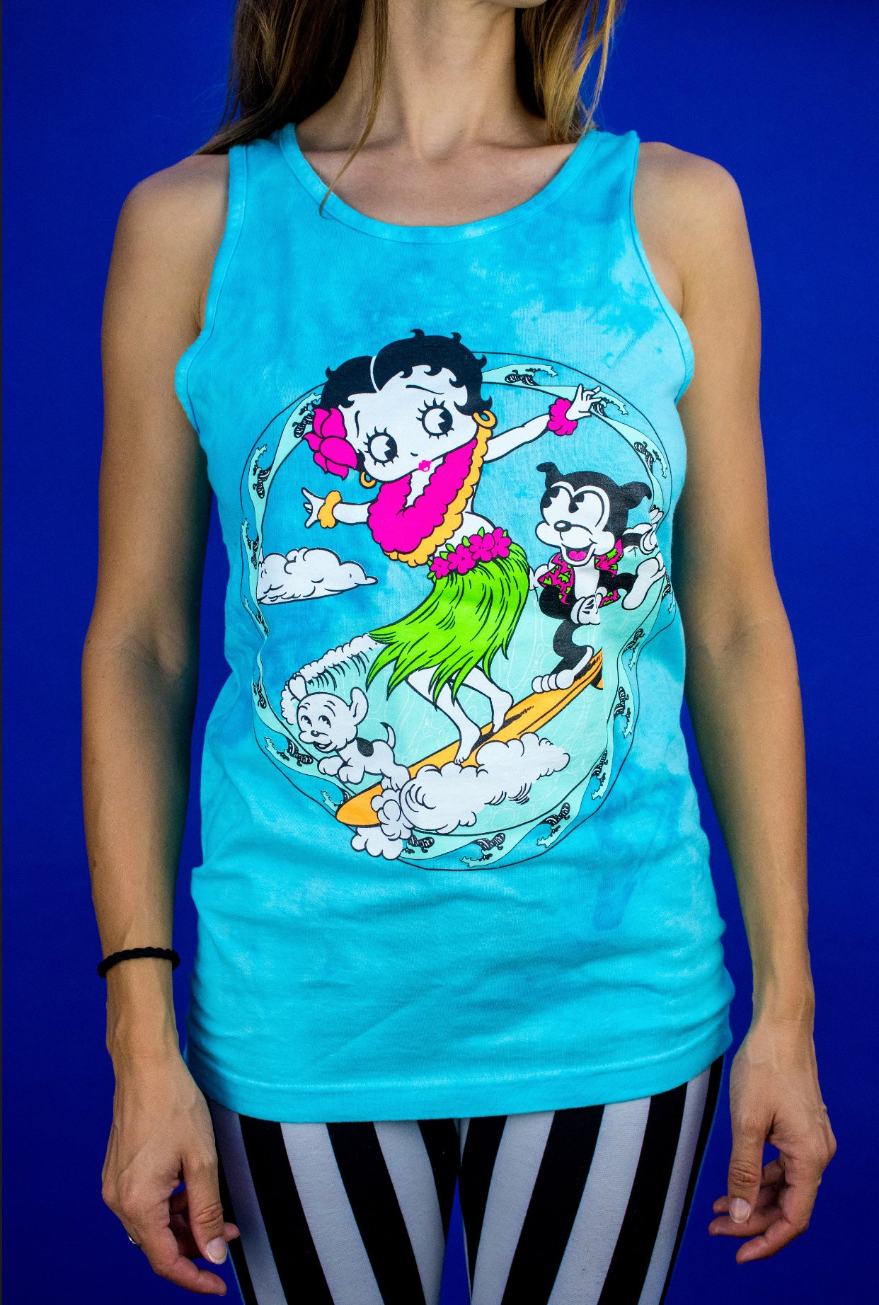 Image of Betty Boop - Surfing Betty Boop Tie Dye Tank Top