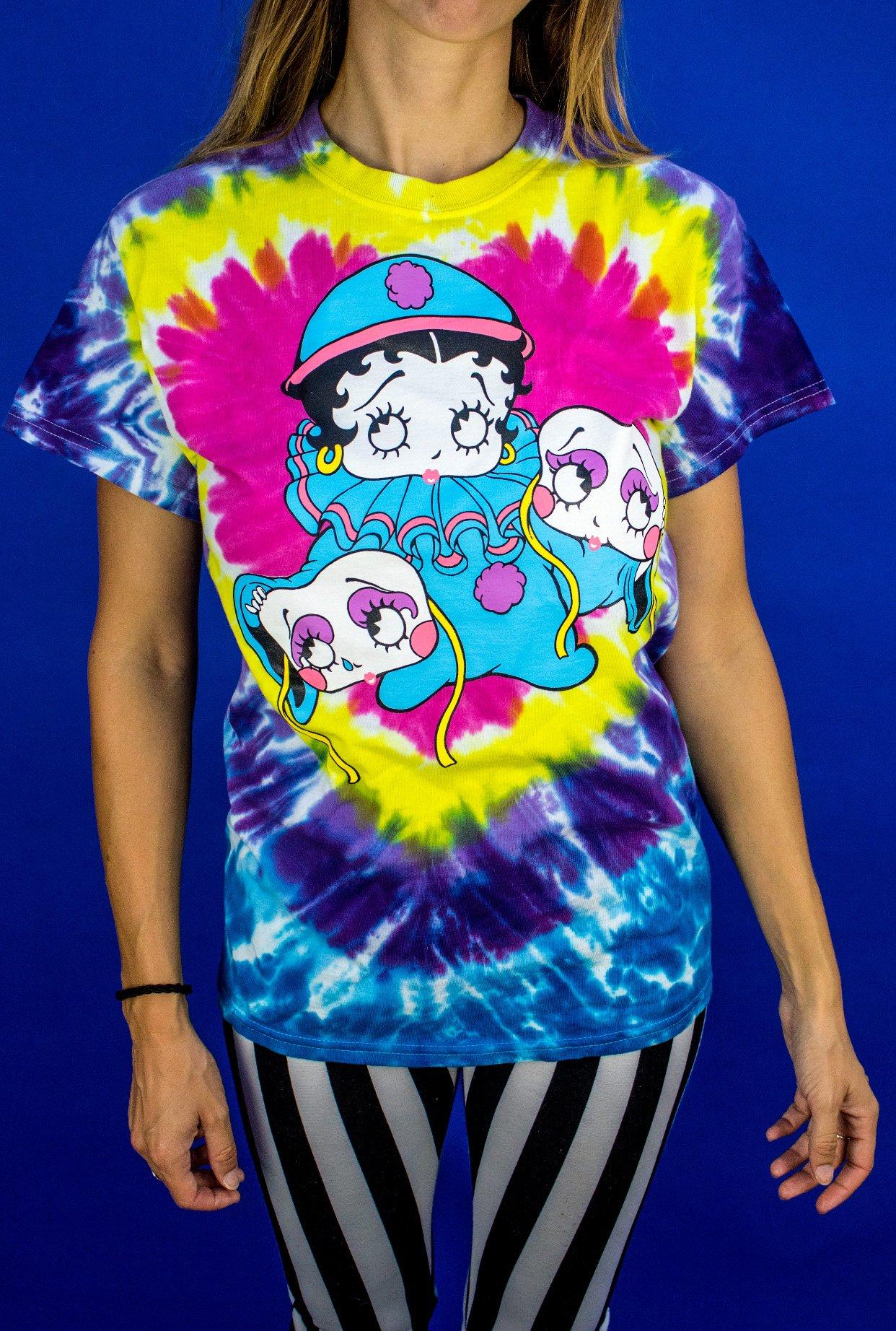 Image of Betty Boop - Betty Boop Clown Tie Dye Shirt