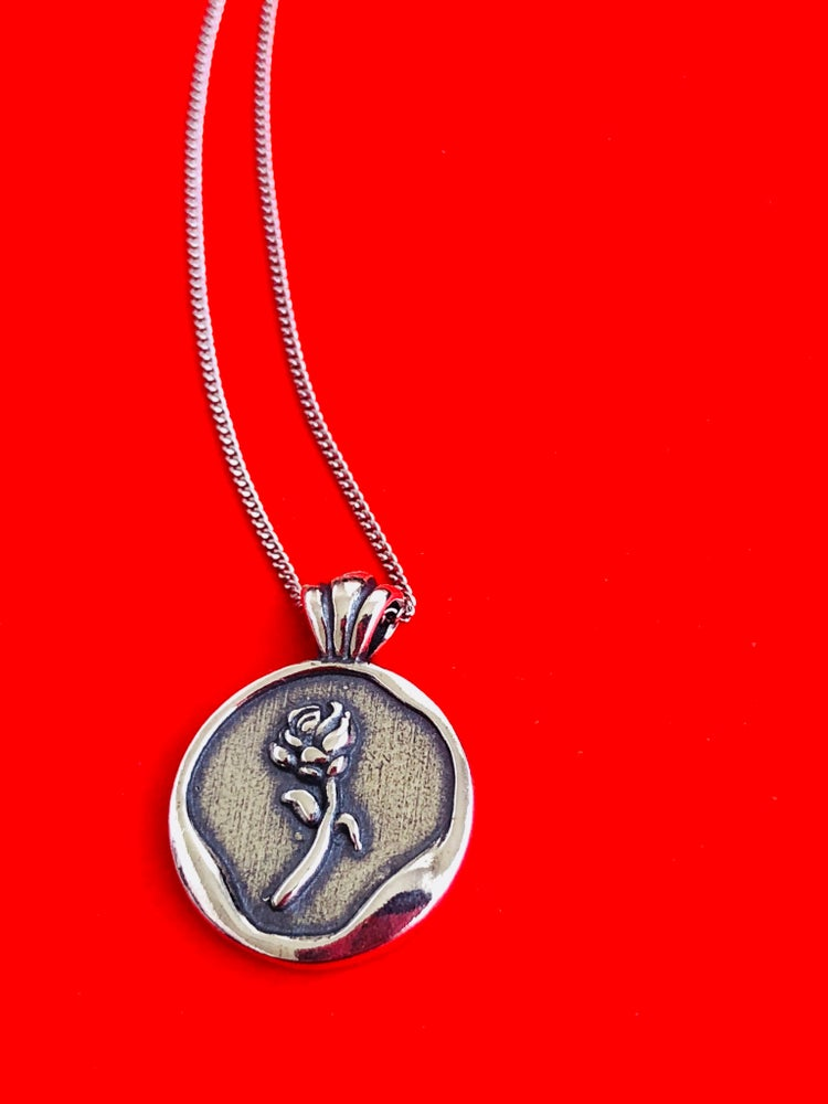 Image of STERLING SILVER ROUND STAMP ROSE PENDANT