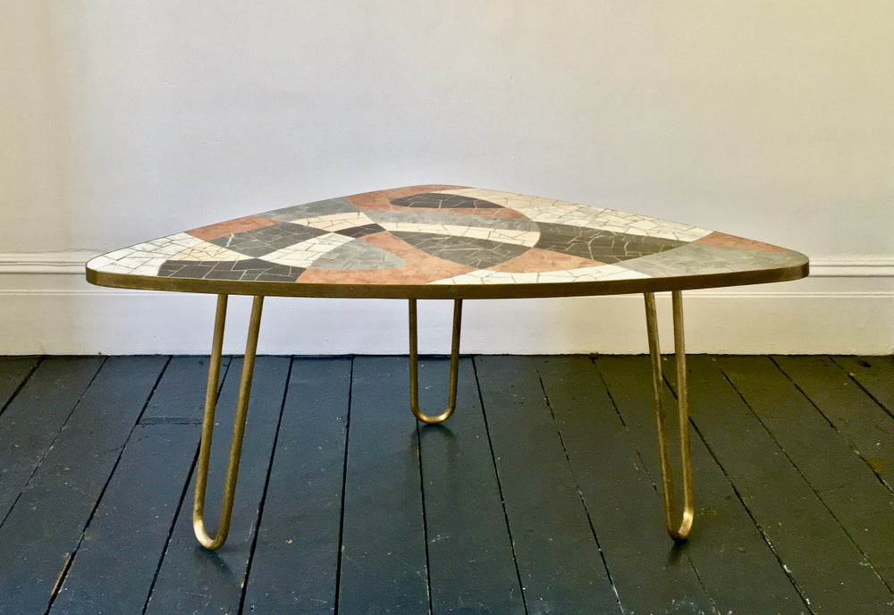 Image of Mid-Century Marble Mosaic Table with Brass Details