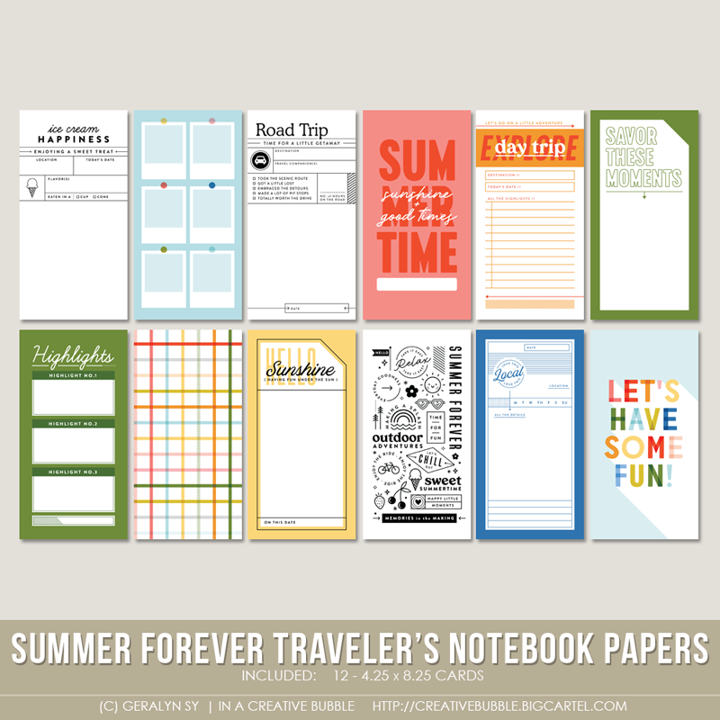 Image of Summer Forever Traveler's Notebook Papers (Digital)