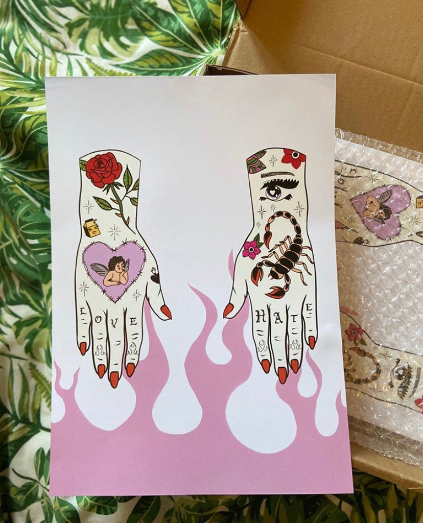 Image of Tattooed hands print