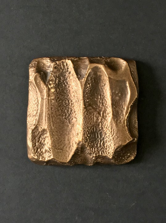 Image of Square Bronze Door Handle with Abstract Design 'Unused'