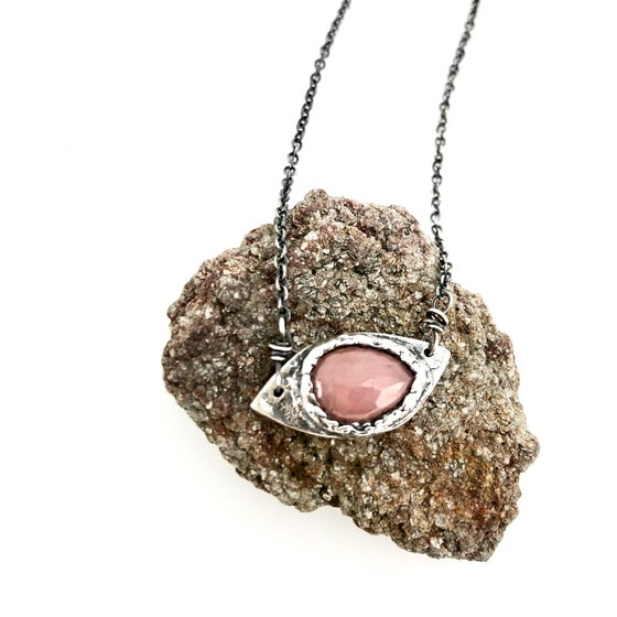 Image of eye of protection necklace with sapphire