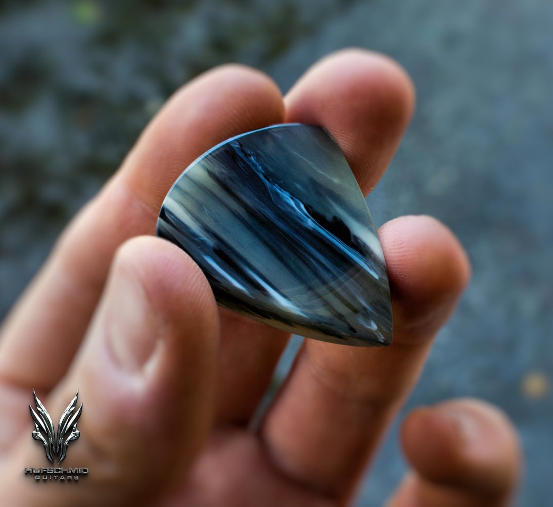 Image of The 7mm 'BLACK JUPITER' ANVIL plectrum (Galalith/Casein)
