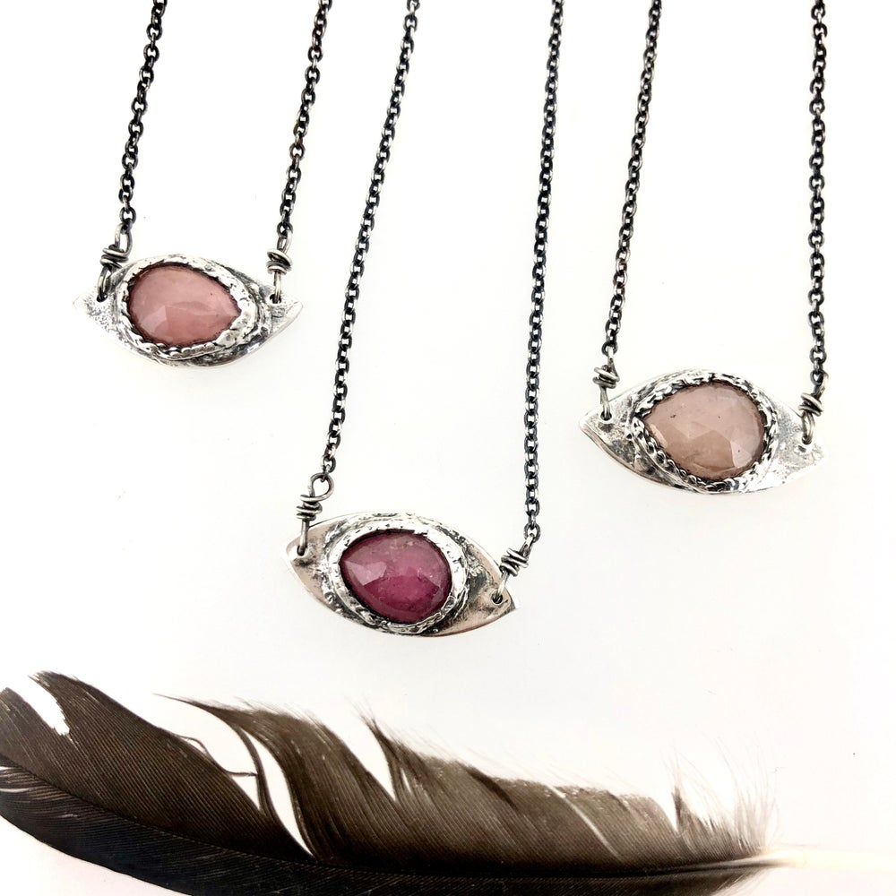 Image of eye of protection necklace with blush sapphire