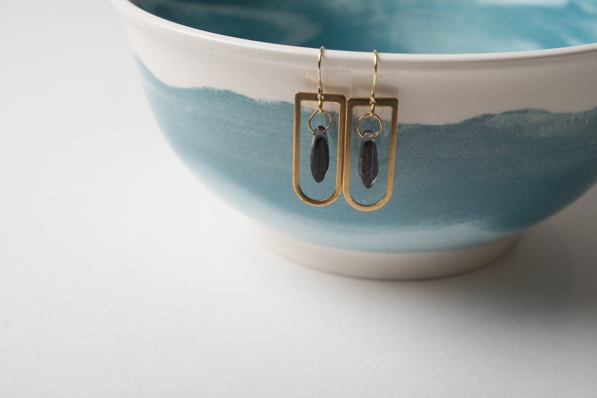 Image of Brass Blue Jewel Earrings