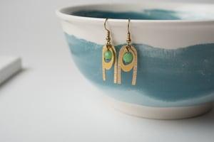 Image of Green Face Brass Earrings