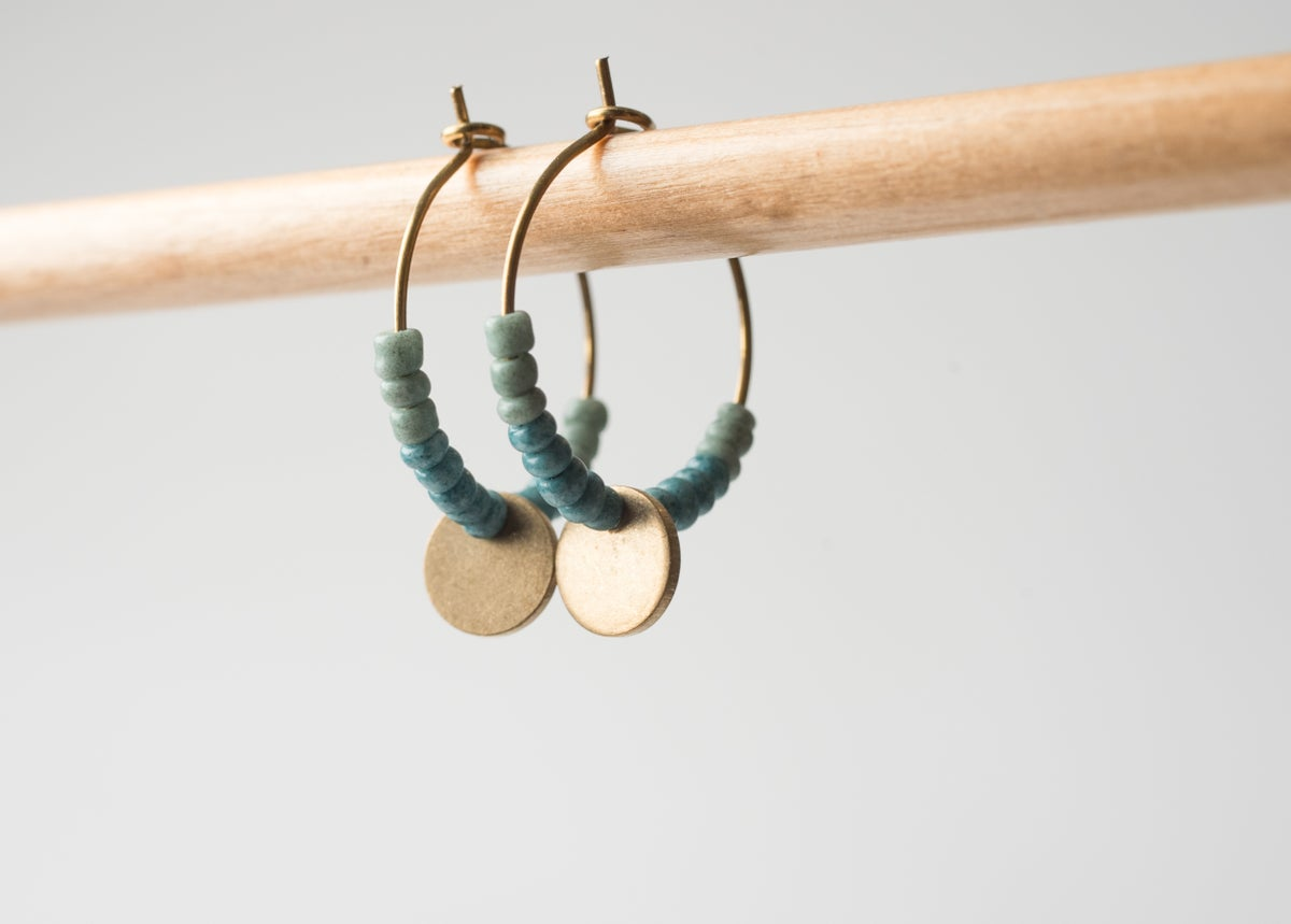 Image of Brass Coin Drop Earrings