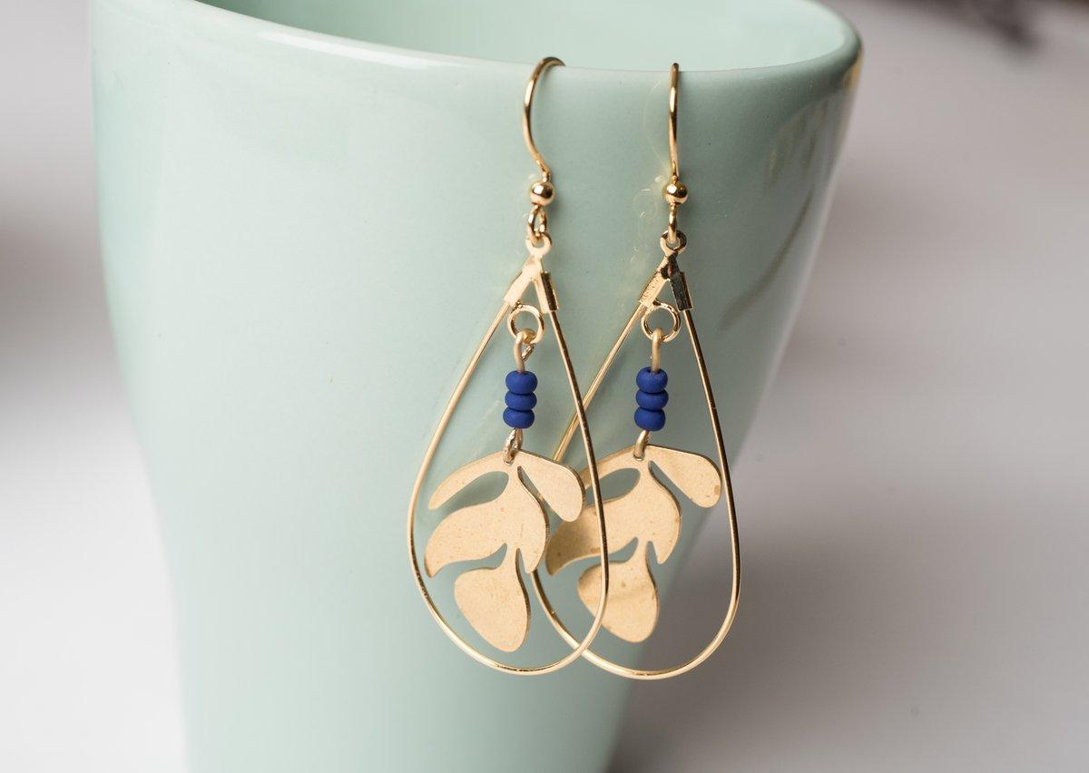 Image of Brass Framed Sealife Earrings