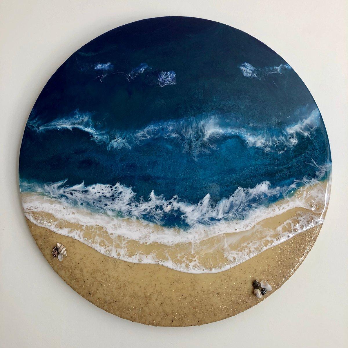 """Image of 14"""" x 14"""" Ocean/beach resin painting."""