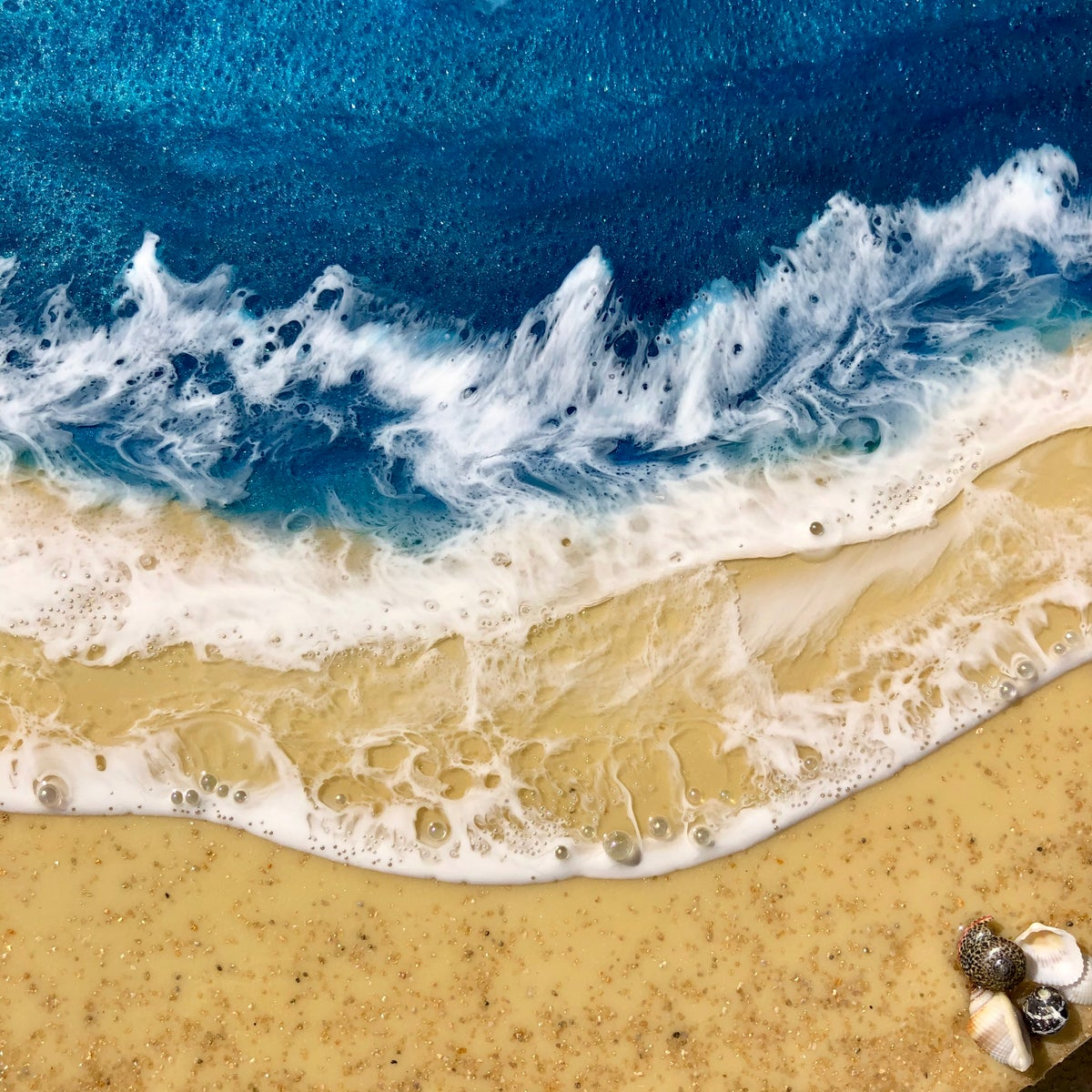 "Image of 14"" x 14"" Ocean/beach resin painting."