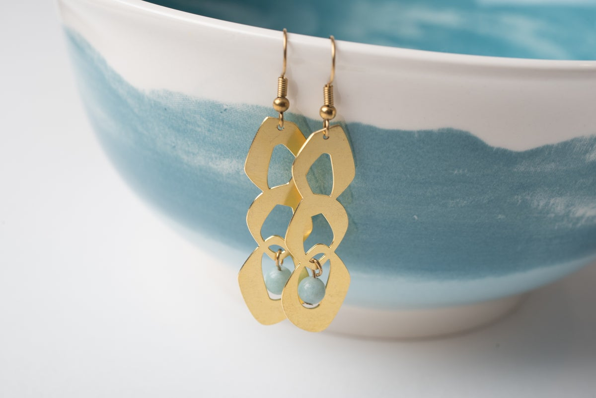 Image of Brass Trio Circle Earrings