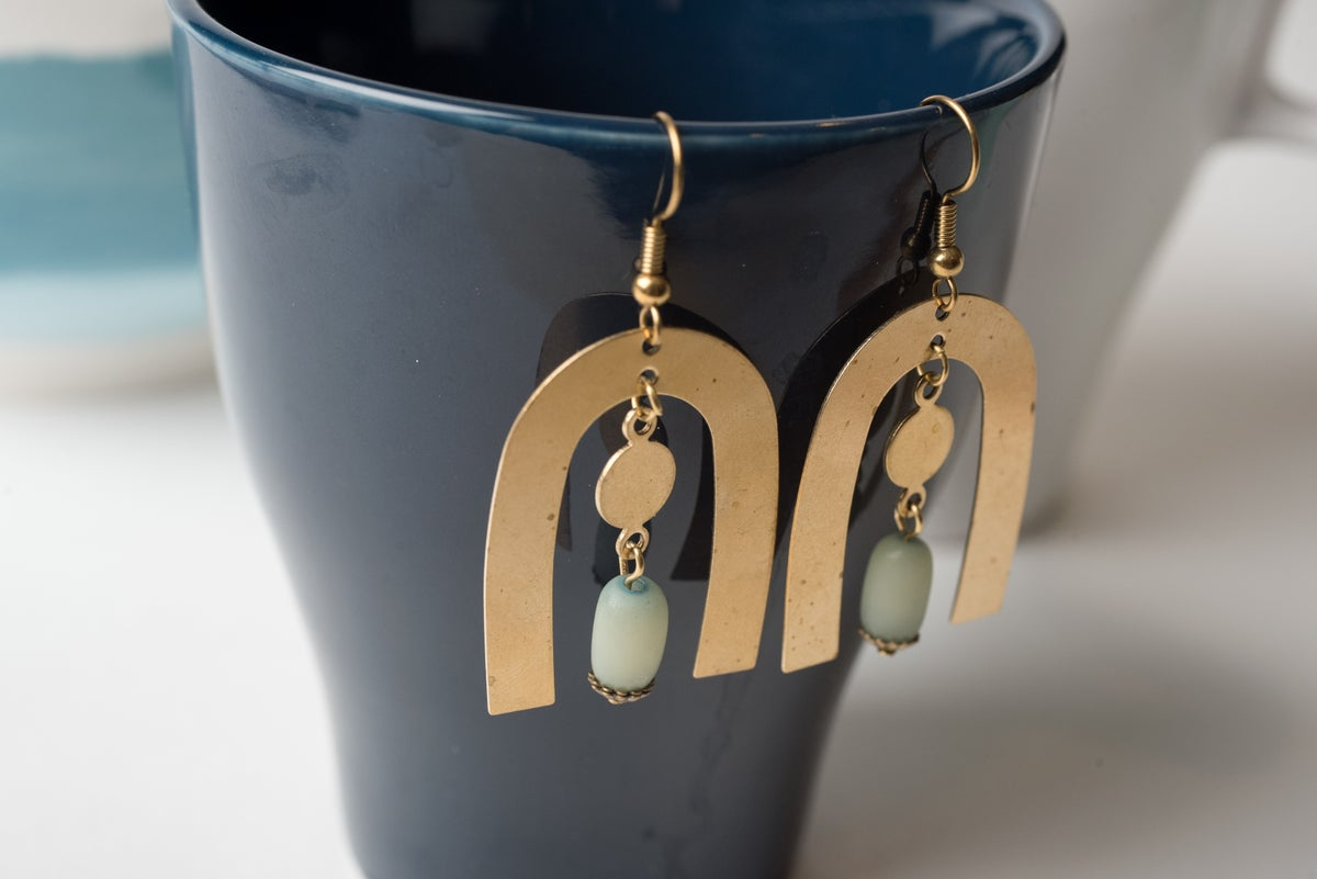 Image of Brass Arch and Coin Earrings