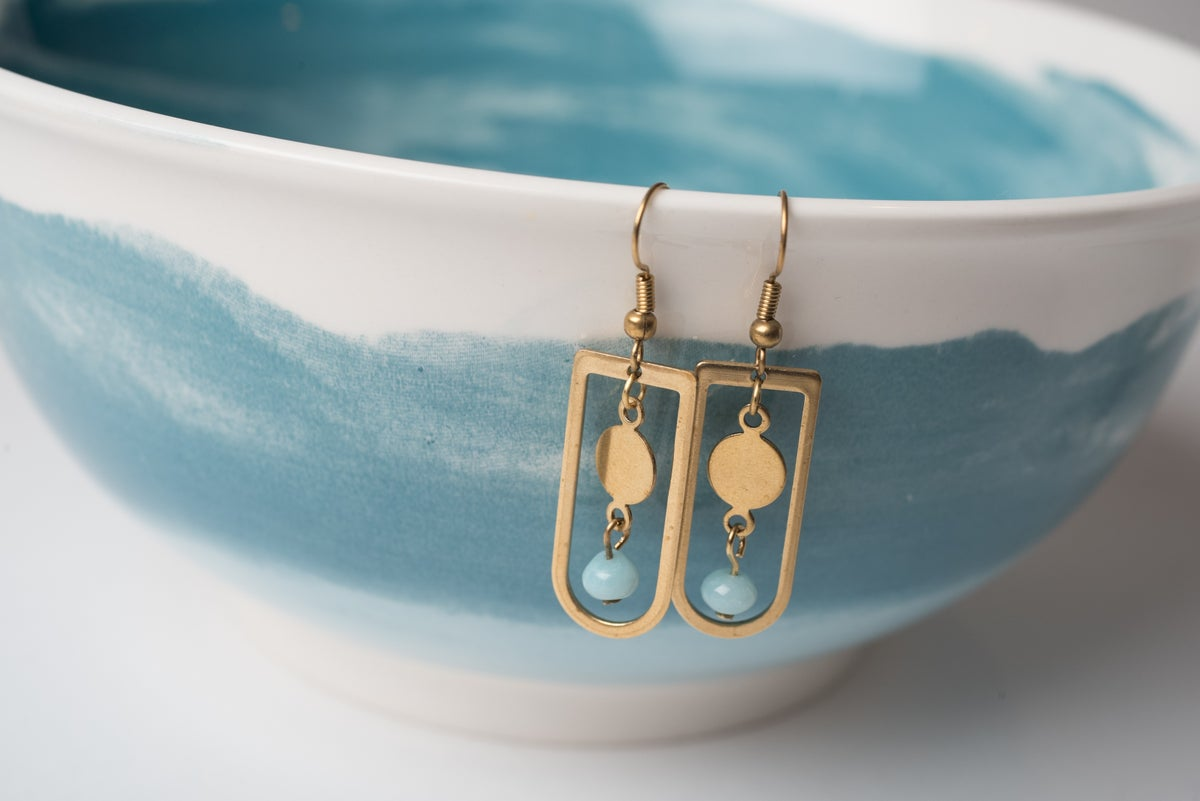 Image of Brass Coin and Frame Earrings