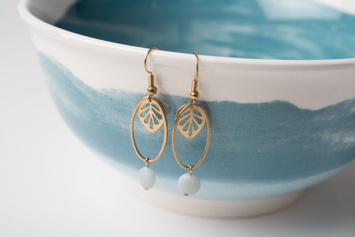 Image of Brass Leaf and Amazonite Earrings