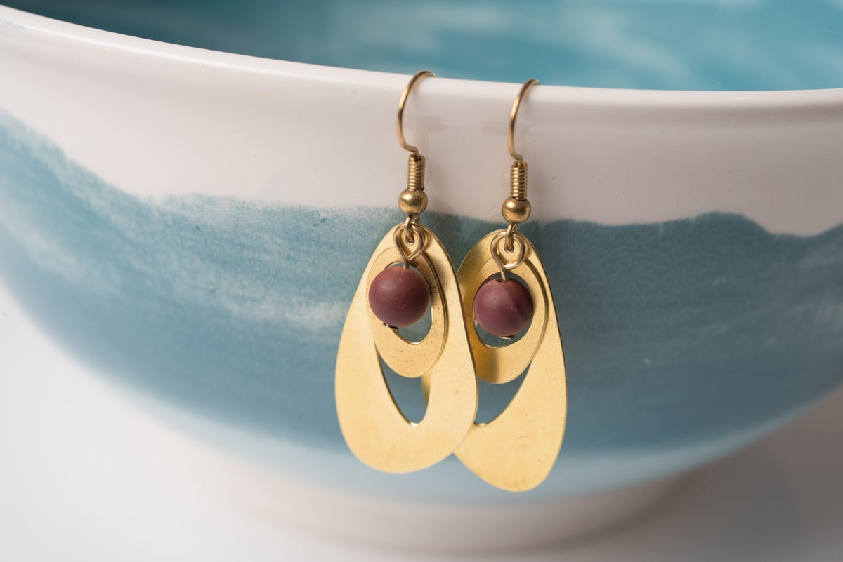 Image of Brass Ovals and Mookaite Earrings