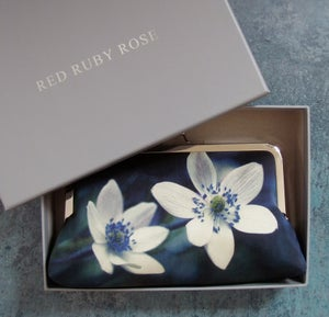 Image of Windflowers silk clutch bag + leather strap or chain handle