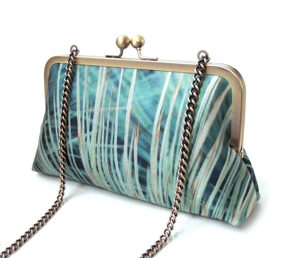 Image of Teal grasses silk clutch bag + leather strap or chain handle