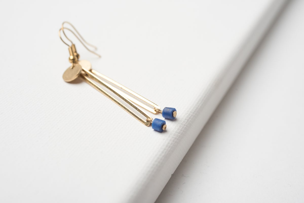 Image of Brass Column and Low Lapiz Earrings