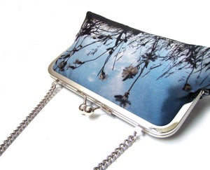 Image of Sea campion silk clutch bag + leather strap or chain handle