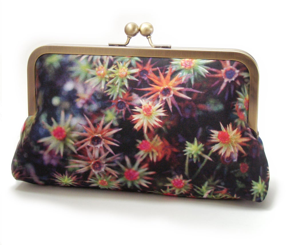 Image of Starry moss silk clutch bag + leather strap or chain handle