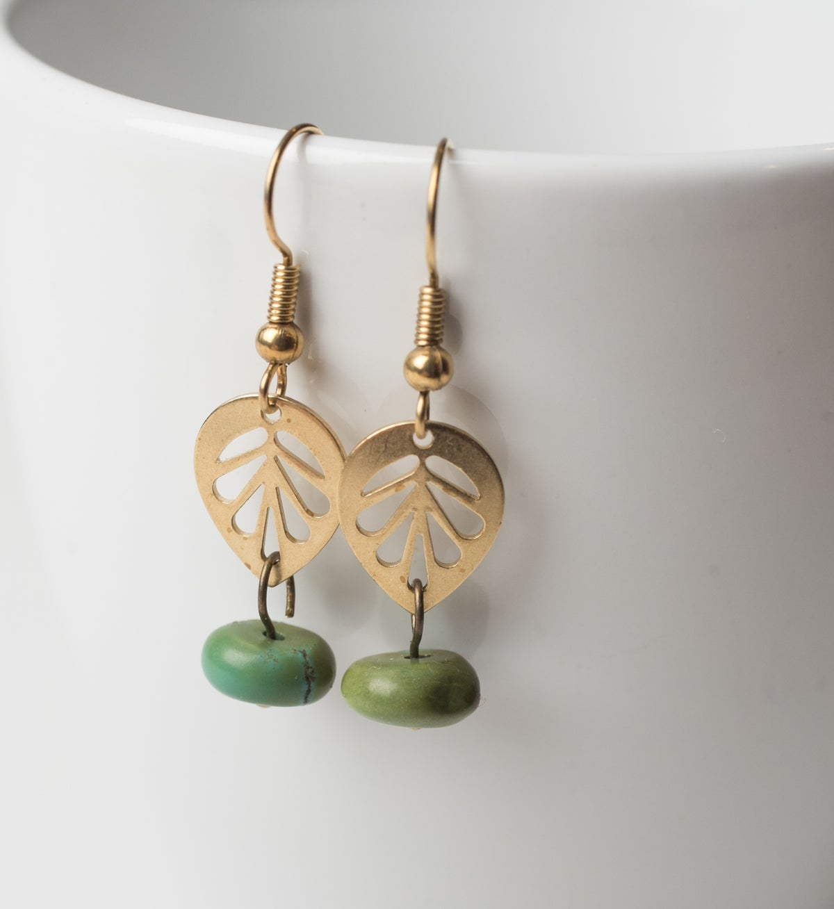 Image of Brass Leaf and Turquoise Earrings