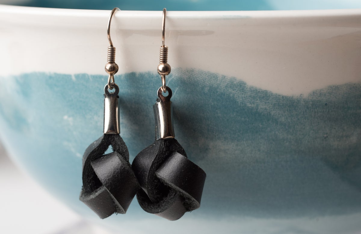 Image of Black Leather Knot Earrings