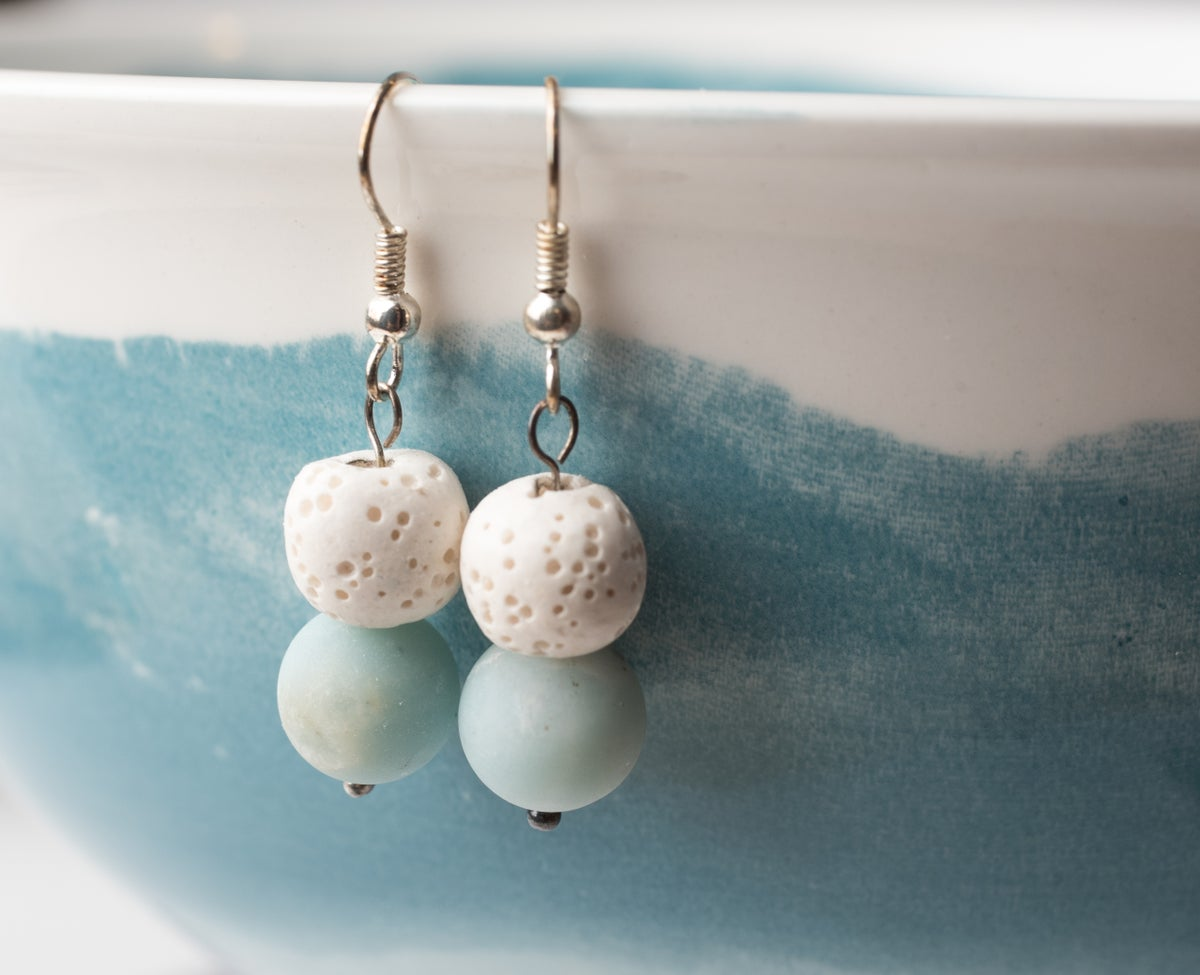 Image of Lava Stone and Amazonite Earrings