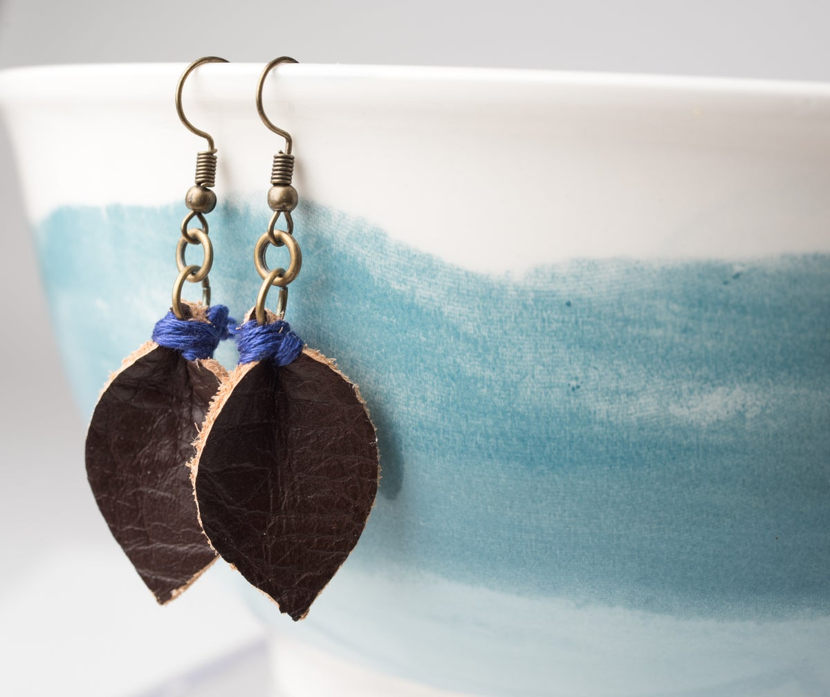 Image of Leather Leaf Diffuser Earrings