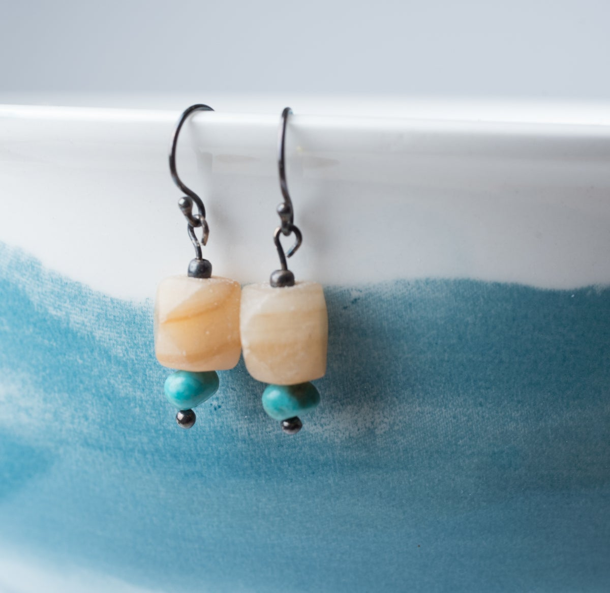 Image of Afghan Onyx and Turquoise Earrings