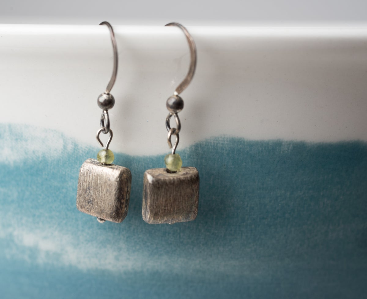 Image of Hill Tribe Scratched Square Earrings